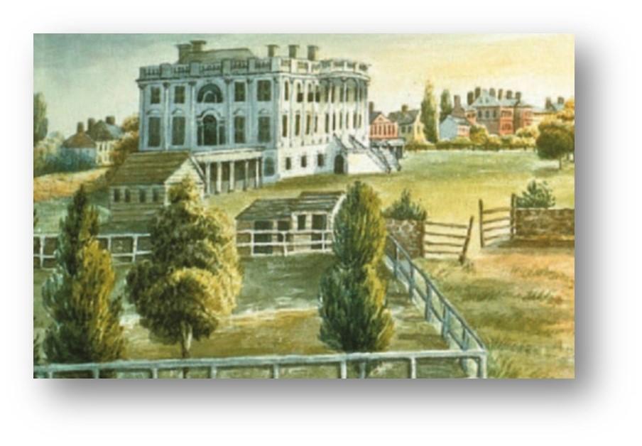 El edificio inicial de la Casa Blanca, sin las ampliaciones ni jardines actuales